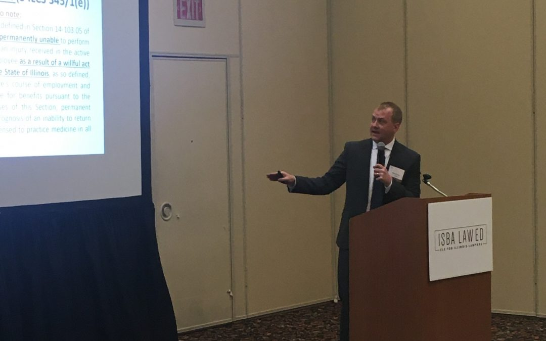 Brent Eames Serves as Speaker on Work Comp Benefits for First Responders at ISBA Seminar